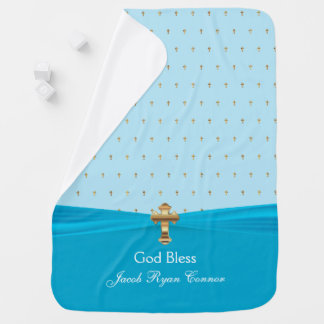 Manta Para Bebe Cruzes preciosas do ouro do baptismo   do batismo