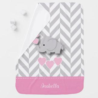 Manta Para Bebe Design do elefante cor-de-rosa de bebê
