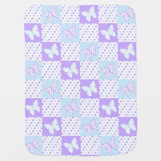 Manta Para Bebe Edredão azul roxa das bolinhas da borboleta da