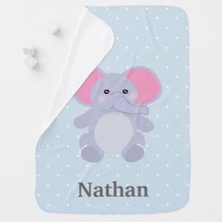 Manta Para Bebe Elefante adorável de Polkadot dos azuis bebés