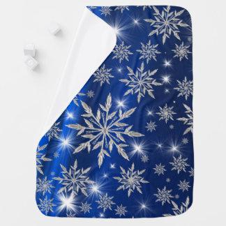 Manta Para Bebe Estrelas azuis do Natal com o cristal de gelo