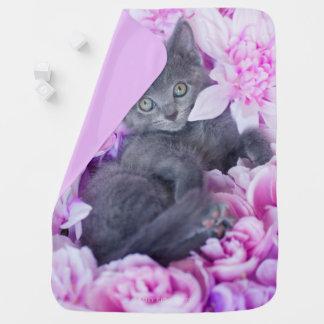 Manta Para Bebe Floral roxo do gatinho do telhador