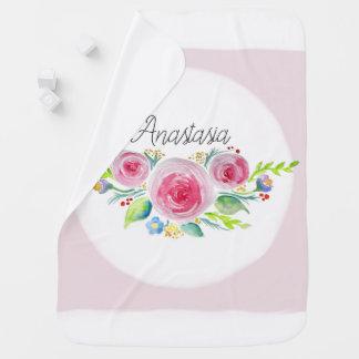 Manta Para Bebe Flores bonitos da aguarela do rosa do bebé com