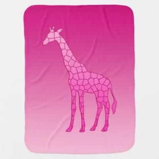 Manta Para Bebe Girafa, fúcsia e luz geométricos modernos - rosa