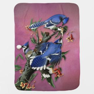 Manta Para Bebe Ilustração de Blue Jays do vintage (Audubon)