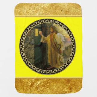 Manta Para Bebe Jesus em sua folha de ouro da porta com textura