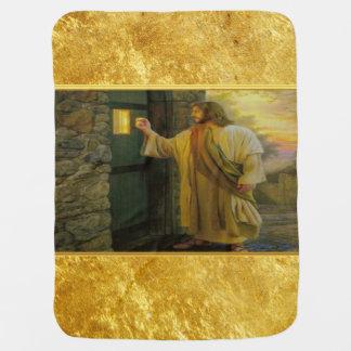 Manta Para Bebe Jesus em sua porta com um design da folha de ouro