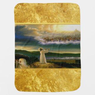 Manta Para Bebe Jesus no design da textura do ouro da porta do céu