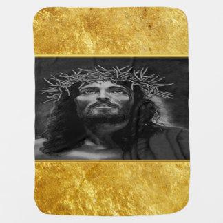 Manta Para Bebe Jesus que olha no céu com um design da folha de