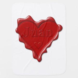 Manta Para Bebe Juan. Selo vermelho da cera do coração com Juan