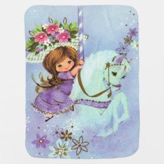 Manta Para Bebe Lilac doce da cobertura do bebê do pônei do