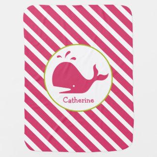 Manta Para Bebe Listras cor-de-rosa + Cobertura personalizada