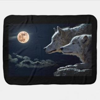 Manta Para Bebe Lobos brancos na Lua cheia