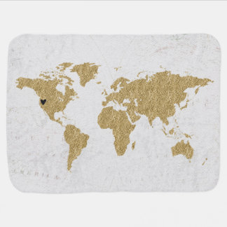 Manta Para Bebe Lugar móvel feito sob encomenda do coração do mapa