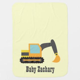 Manta Para Bebe Máquina escavadora alaranjada, veículo da