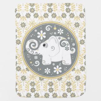 Manta Para Bebe Margarida branca cinzenta amarela do elefante