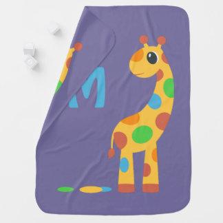 Manta Para Bebe Monograma colorido do girafa dos desenhos animados