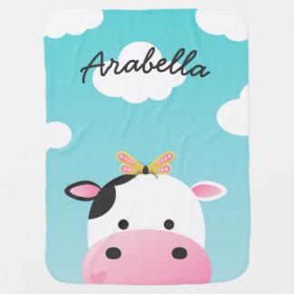 Manta Para Bebe Nome do costume de BFFs da vaca & da borboleta