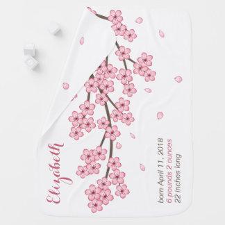 Manta Para Bebe Nome do costume de ramo da flor de cerejeira de