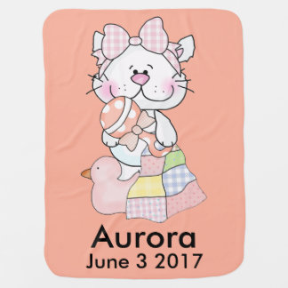 Manta Para Bebe O gatinho personalizado da Aurora