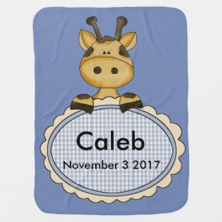 Manta Para Bebe O girafa personalizado de Caleb
