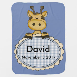 Manta Para Bebe O girafa personalizado de David