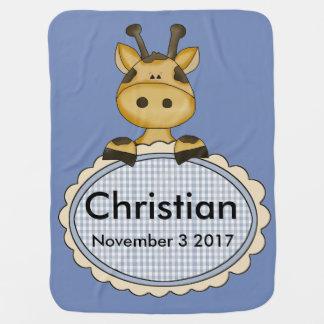 Manta Para Bebe O girafa personalizado do cristão