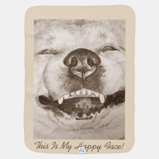 Manta Para Bebe o retrato de sorriso engraçado e o slogan de akita