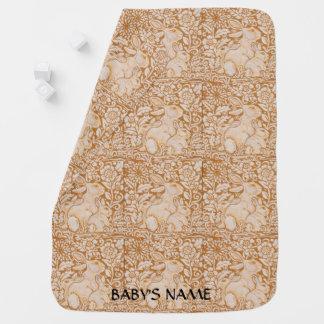 Manta Para Bebe O vintage do ouro da cobertura do bebê do coelho
