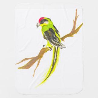 Manta Para Bebe Papagaio em um ramo. Pintura da aguarela
