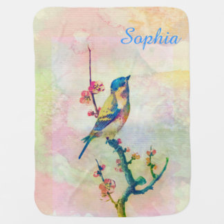 Manta Para Bebe Pássaro adorável bonito dos watercolours do