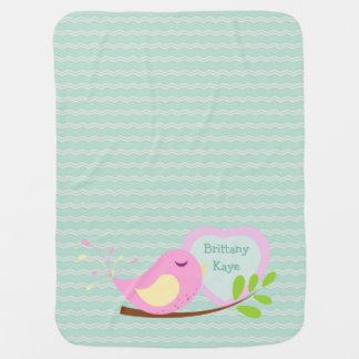 Manta Para Bebe Pássaro cor-de-rosa de Chevron da cerceta