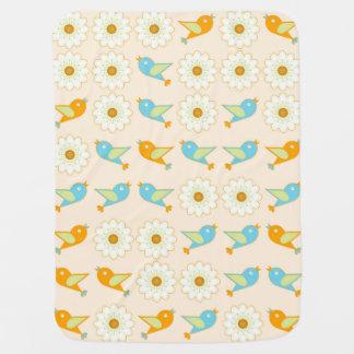 Manta Para Bebe Pássaros e margaridas