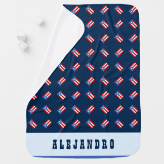 Manta Para Bebe Personalizado: Azul: Bandeira de Puerto Rico