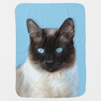 Manta Para Bebe Pintura do gato Siamese - arte original bonito do