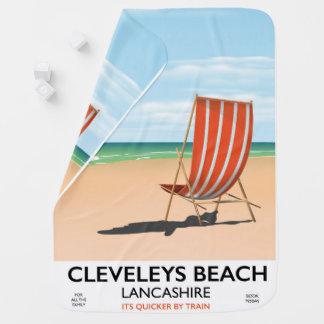 Manta Para Bebe Poster do beira-mar de Lancashire da praia de