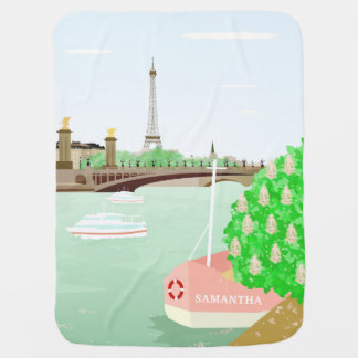 Manta Para Bebe Primavera da torre de Eifel do monograma na