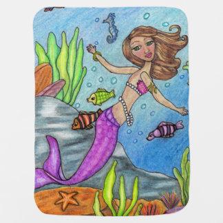 Manta Para Bebe Rochas roxas bonito da alga dos peixes da natação