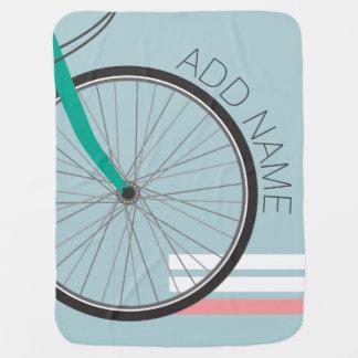 Manta Para Bebe Roda de bicicleta do hipster com nome feito sob
