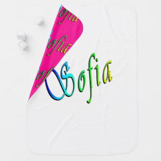 Manta Para Bebe Sophia, nome, logotipo, cobertura reversível do