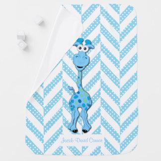 Manta Para Bebe Teste padrão do design do girafa dos azuis bebés