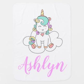 Manta Para Bebe Unicórnio feliz mágico Mystical em um nome da