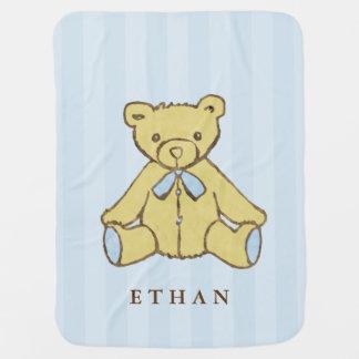 Manta Para Bebe Urso do menino azul personalizado