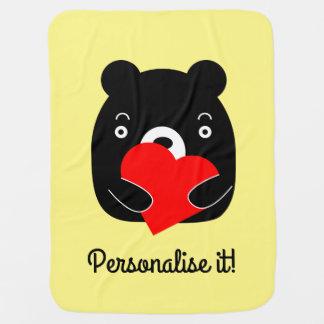Manta Para Bebe Urso preto que guardara um coração