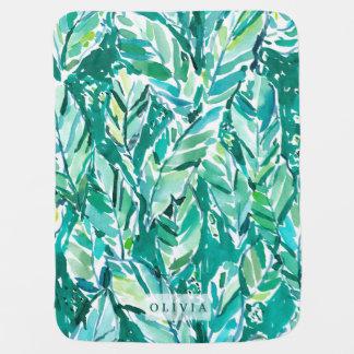 Manta Para Bebe Verde da SELVA da FOLHA da BANANA tropical