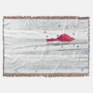 Manta Pássaro cardinal vermelho na árvore de vidoeiro
