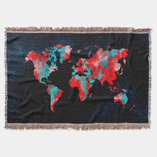 Manta preto vermelho do mapa do mundo
