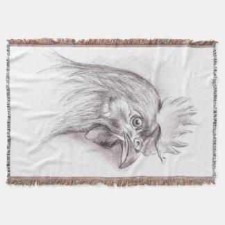 Manta Retrato da galinha no carvão vegetal