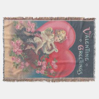 Manta Rosa dos rosas do rosa do coração da harpa do