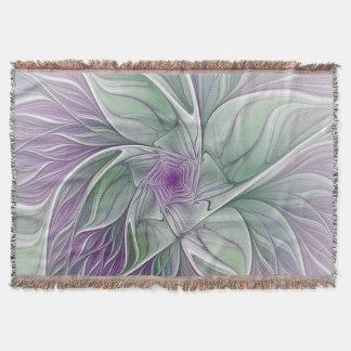 Manta Sonho da flor, arte verde roxa abstrata do Fractal